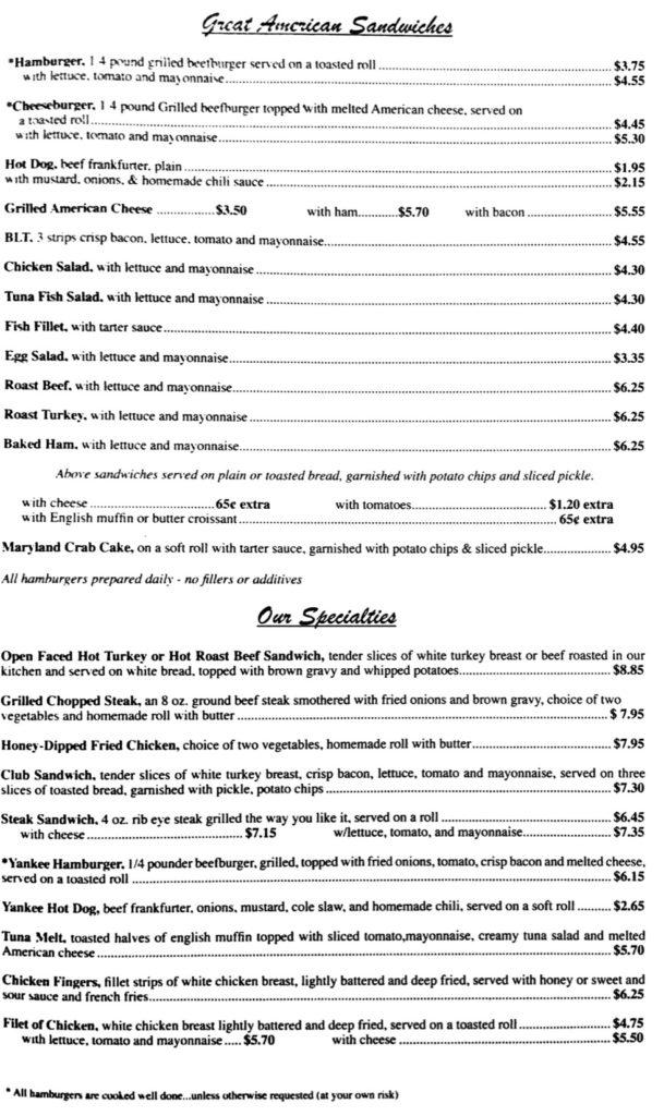 Yankee Coffee Shop's menu, page 3.