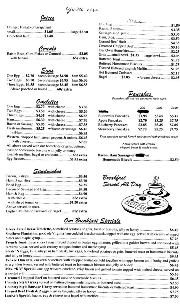 Yankee Coffee Shop's menu, page 4.